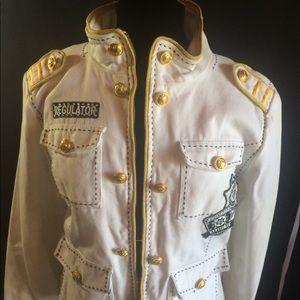 White denim embellished zipper jacket